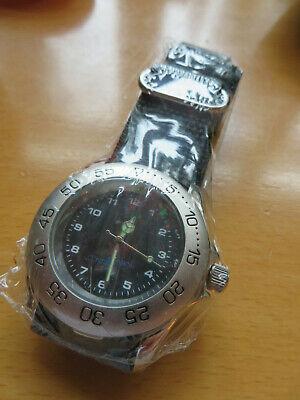 Sportliche Herren-Armbanduhr silberfarben mit Klettverschluss-Armband  (Neu+OVP)