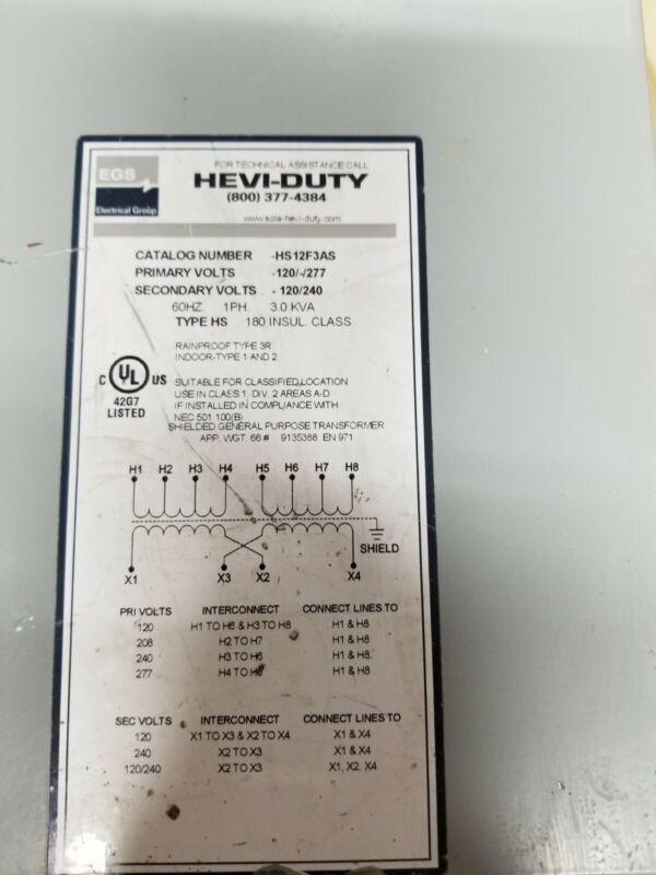 HEVI-DUTY HS12F3AS Transformer 60HZ 1PH 3 KVA2 x 120V, 25 A, 120V, 208V, 240V, 2