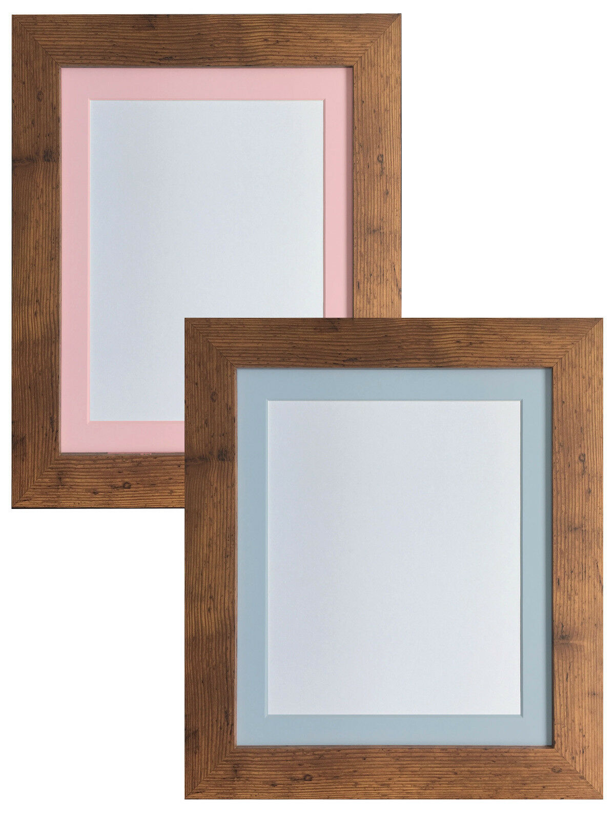 Metro Vintage Wood Picture Photo Frames with Pink or Blue Mount ...