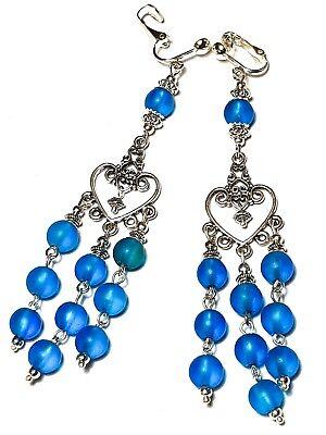 Long Turquoise Chandelier Clip-On Earrings Glass Bead Drop Dangle Vintage Gypsy