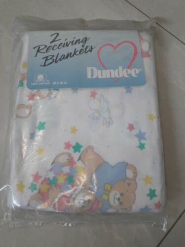 NOS Vintage Dundee 2 Receiving Blankets-cute bears baby