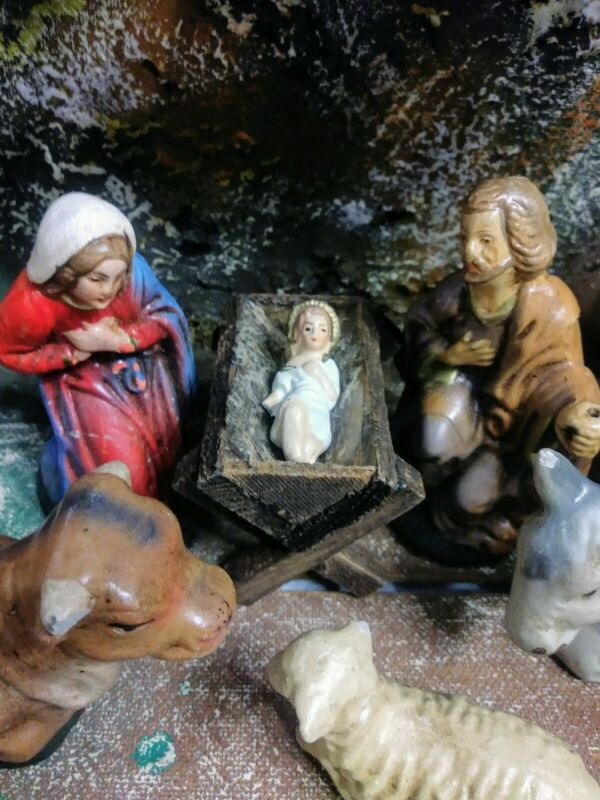 Nativity Scene 1940s Vintage Western Germany Christmas Jesus Manger Paper Mache