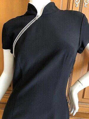 Alexander McQueen Cheongsam Style Little Black Dress with Zipper Details