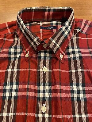 Mens Burberry London Button Shirt Size Large Red Plaid USA Made