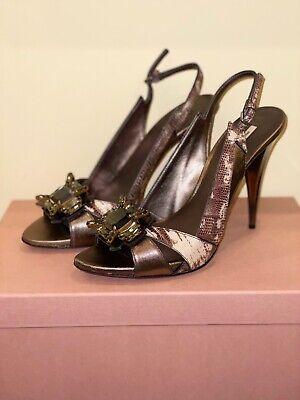 NIB MUI MUI Snakeskin & Bronze Leather High Heel Jeweled Strappy Shoes Italy 40