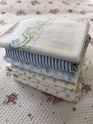 Lot Vintage Laura Ashley Ditsy Floral Print Sheets Set Cross Stitch Pillowcase