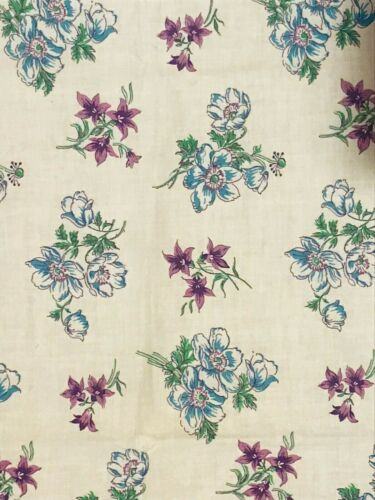 Vintage feed sack fabric, purple green and white flowers