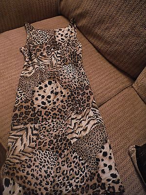 Cdc Petites Sz 2 Brown Leopard Print Above Knee Length Strappy Dress