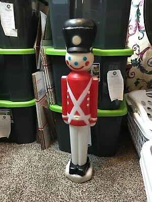 Vintage Christmas Blow Mold Toy Soldier Nutcracker 30 Inch Needs Light