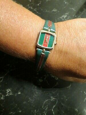 Vintage 1970's Gold Red and Green Ladies Gucci Watch w/ leather band NOT WORKING