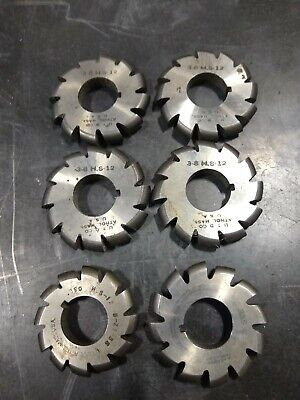 Cutter Lot Of Six Convex Milling Slitting Full Radius Horizontal Cutters Hss