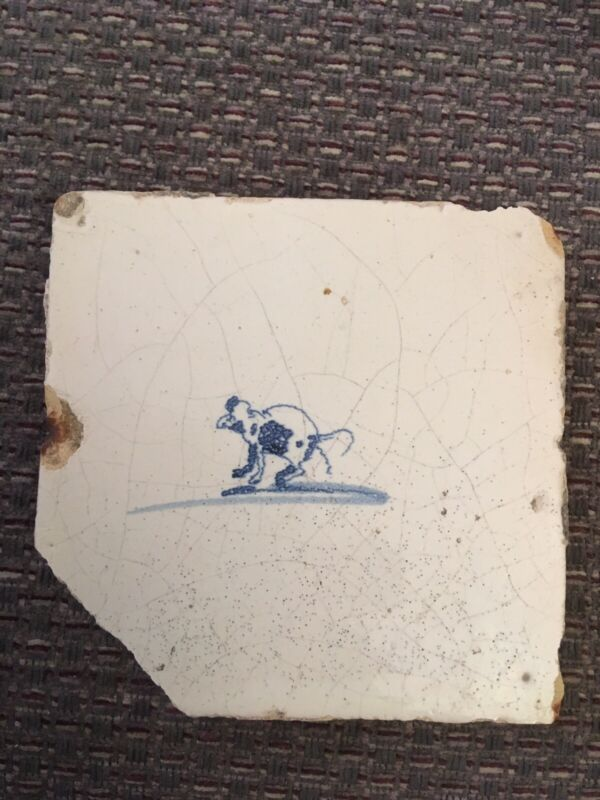 18th Century Delft ceramic tile depicting a small hopping animal   21/464A