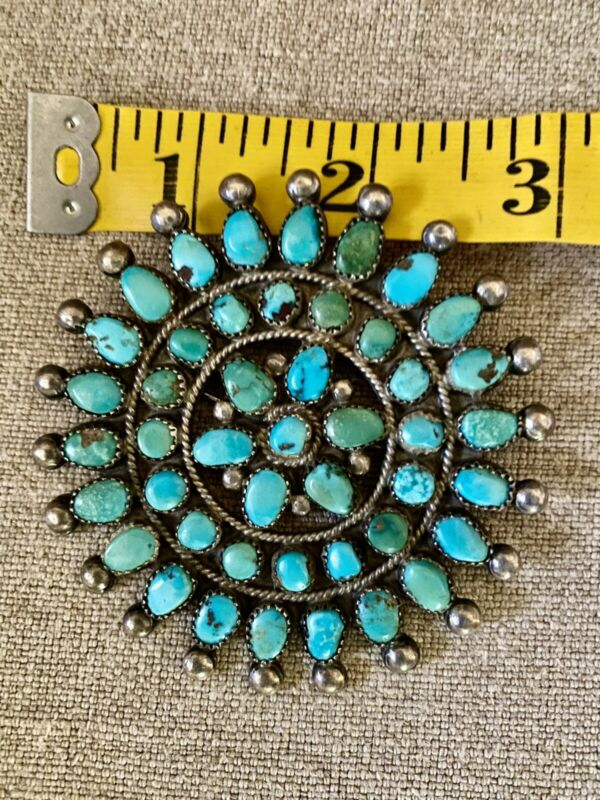 Vtg ZUNI Blue/Green Turquoise Cluster Sterling Pendant Pin Brooch