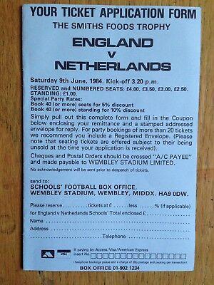 England v Netherlands Schoolboys 1983/84 ticket application