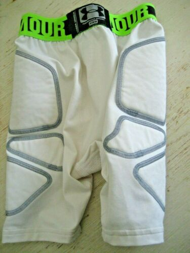 Youth YXS UNDER ARMOUR HEAT GEAR White Lime Athletic Compression PADDED SHORTS s