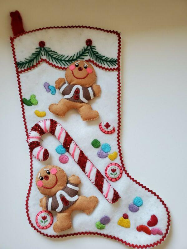 "Vtg Bucilla? Handmade Christmas Felt Sequin Stocking Gingerbread Candy Cane 18"""