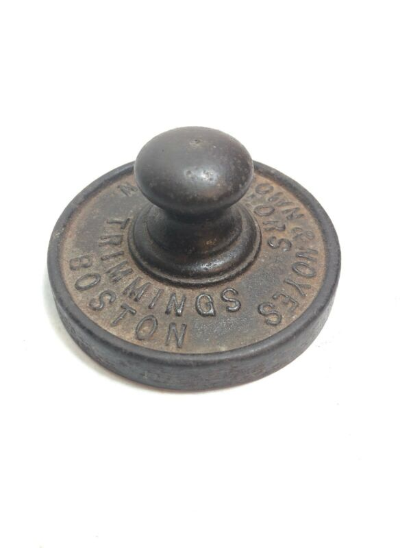 Antique Noyes Brown & Noyes Cast Iron Tailor Trimmings Disk Boston Paper Weight