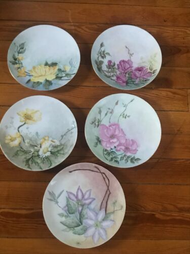 Vintage Lot of 5 Artist Signed Hand Painted Yellow & Pink Flowers Germany Marked