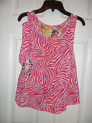 Pogo Club Girls Pink Top Size 14   16 Reversible Animal Print Flowers Sleeveless