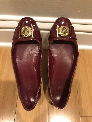 Auth GUCCI 6.5 B Ballet FLATS Brass Logo Buckle Patent Round-Toe