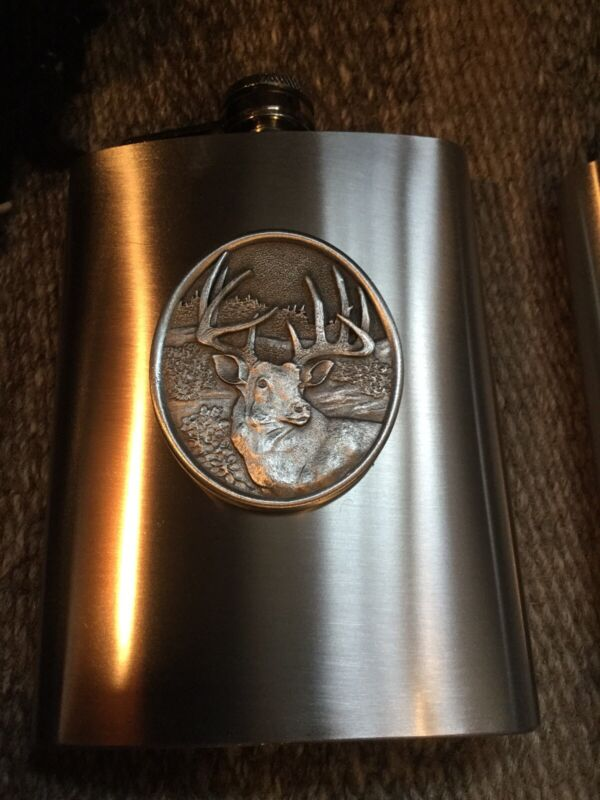 Pewter Flask, White Tail, Wildlife Themed, 8 Ounces, Stainless Steel With Pewter