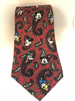 Disney Mickey Mouse Red Brown Paisley Necktie By Balancine