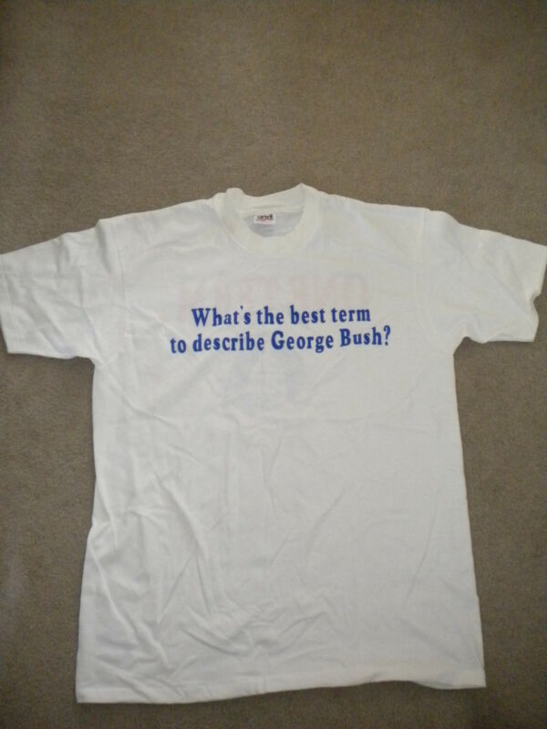 "Vintage Anti George Bush ""One Term"" NCSC T-Shirt L RARE Political Sleepy Moon"