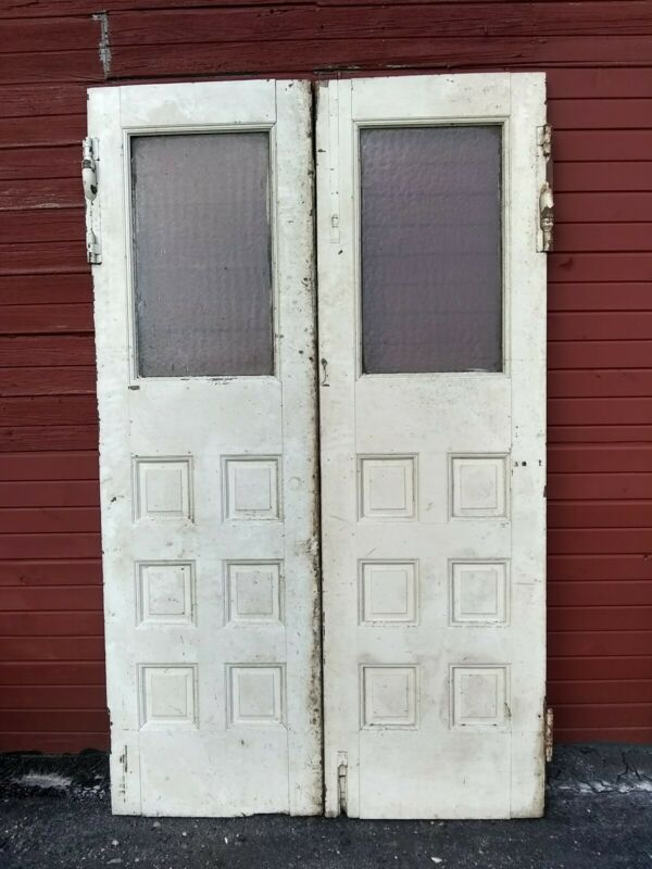 Ohio-Vtg Antique Double Door-Solid Wood-Double Frosted Window Iron Hinged