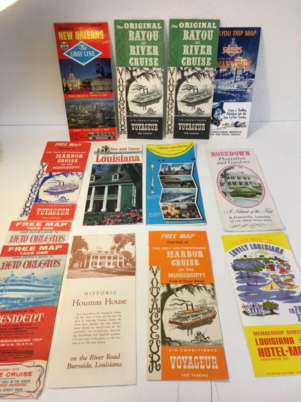 Lot of 13 Vintage Louisiana, New Orleans Travel Memorabilia, Booklets Maps