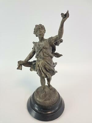 Vintage Spelter Figurine Man Holding a Butterfly 29cm on Wooden Plinth