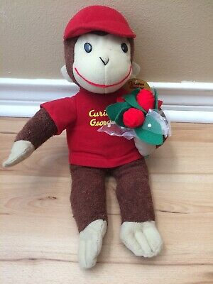 Curious George Toy Network Plush Stuffed Animal Monkey Red Hat Roses Flowers -