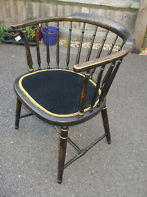 Antique Aesthetic Movement ebonised and gilt bow chair, very pretty desk chair