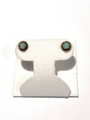 Vintage 14k Yellow Gold Opal Stud Earrings
