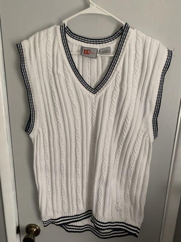 Vintage White Blue Wilson Golf Tennis V Neck Pullover Sweater Vest Men Large Ivy