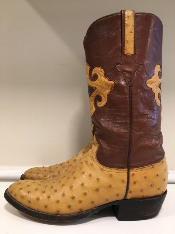 Vintage, Lucchese, Brown, Full, Quill, Ostrich, Cowboy, Western, Boots, Mens, Size, 7, D