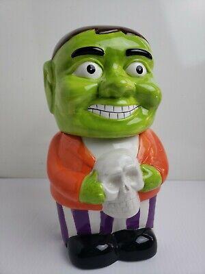 Ceramic Halloween Frankenstein Monster Holding Skull Cookie Jar b39