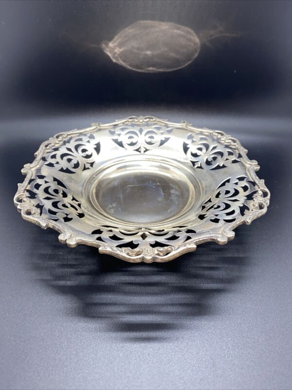 """Antique Vintage Egyptian Silver Reticulated Footed Bowl 7 1/2"""""""