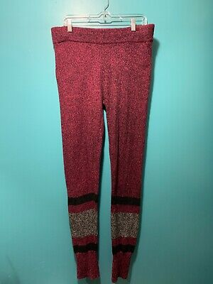 HOTTOTTIES Knit Sweater Leggings Women's Sz XL Striped Ribbed Cuffs SOFT & COZY