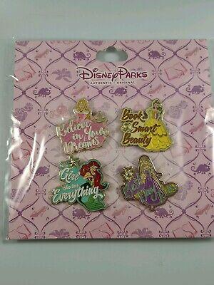 Disney Pin Trading Princess 4 Pin Booster Pack Ariel Belle Aurora Rapunzel