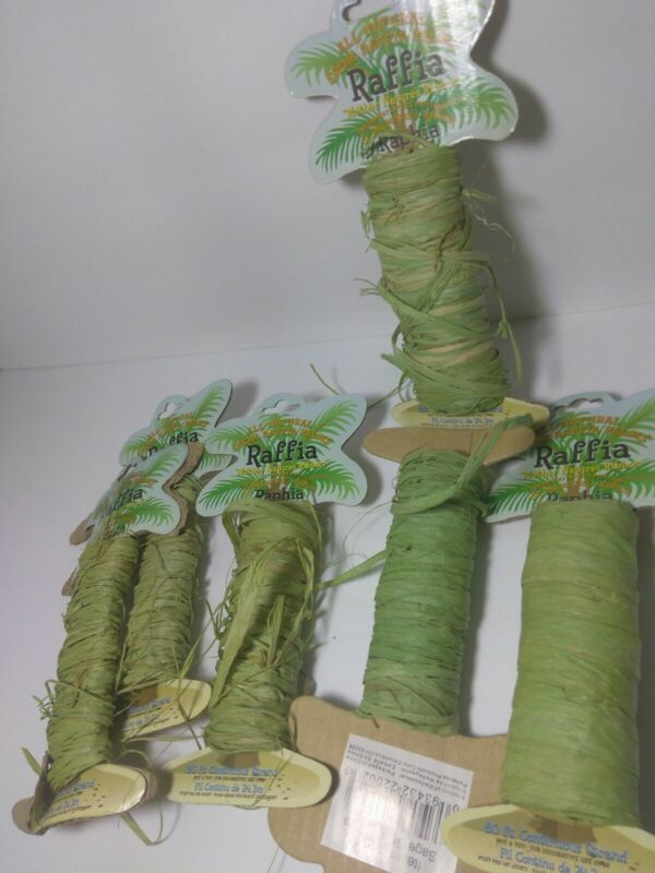 All Natural Palm Raffia Roll Two-tone, for Craft Projects 18mm, 80 Continuos Ft
