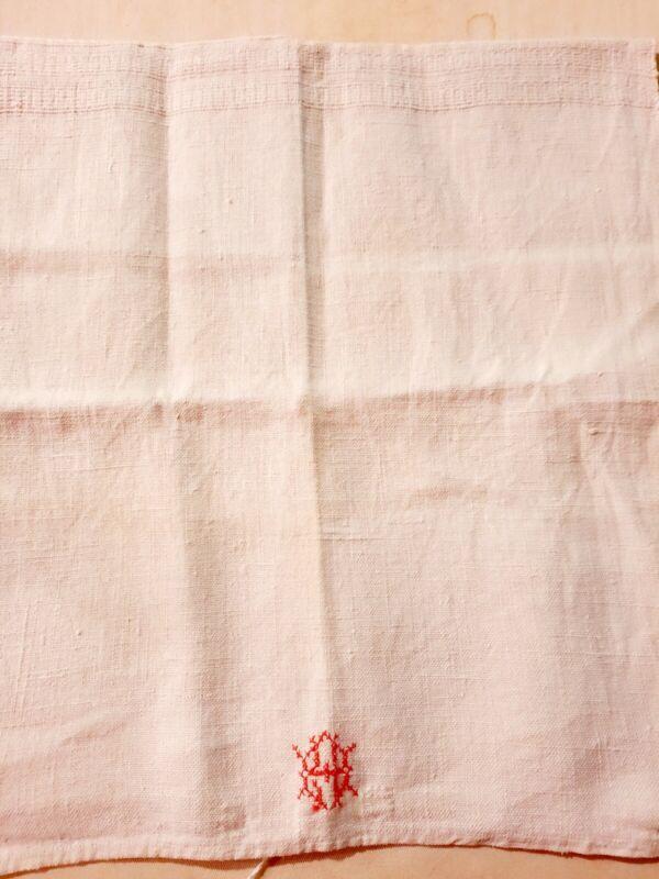 Antique Flax Linen Towel French Monogram 28 X 15