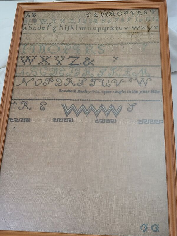 Antique Embroidery Sampler ABC 123 Alphabet Dated 1820