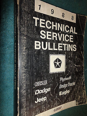 1988 Chrysler Dodge Car   Truck   Jeep    Bound Service Bulletins Shop Manual