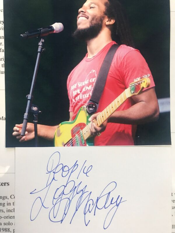 """Ziggy Marley Signed Autograph 3""""x5"""" Index Card W/ Color Photo"""