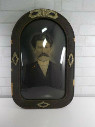 ANTIQUE DOMED CONVEX BUBBLE GLASS WOOD FRAME Moustache Gentleman