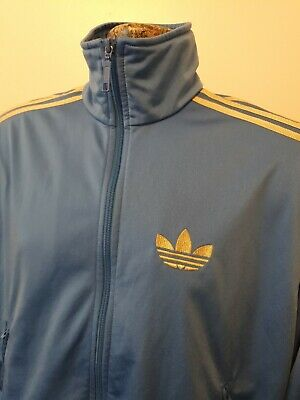 Adidas Size Small Retro Light Blue And Gold Jacket