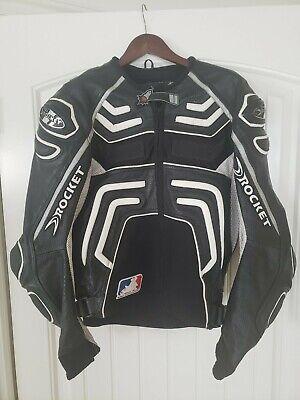 JOE ROCKET Leather/Mesh Riding/Racing Armored Motorcycle Jacket Blk/Wht size 44 Joe Rocket Racing Leathers