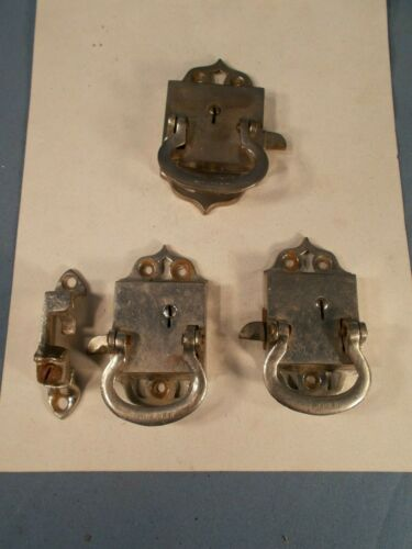 Vtg set of 3 Nickle over Brass Latches Old Ice Box Refrigerator