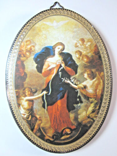 """Our Lady Undoer ( Untier ) of Knots Icon Picture on Wood Oval 5 3/4""""  Italy"""