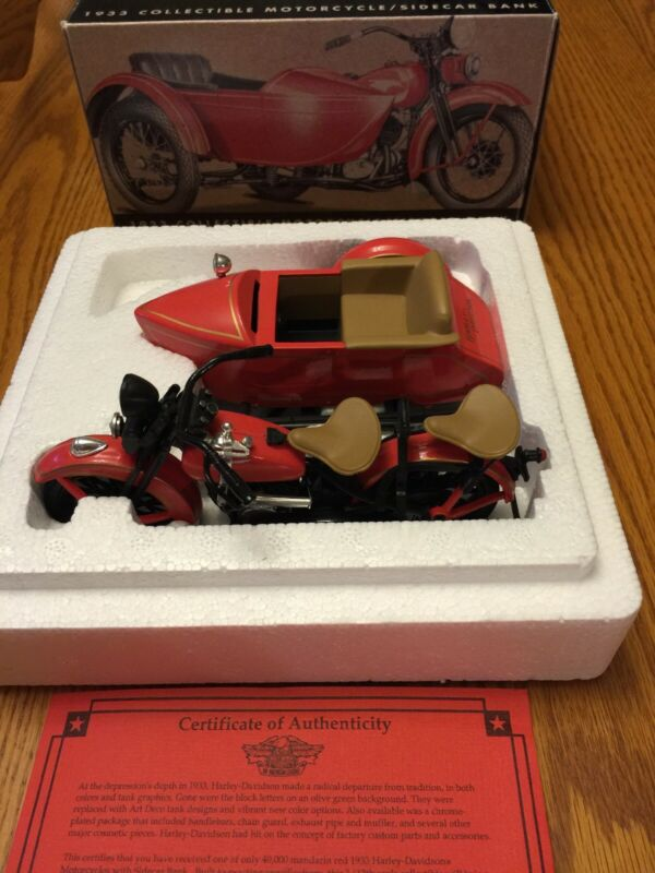 1933 HARLEY-DAVIDSON Motorcycle Sidecar Bank 1:12 Scale New In Box COA.
